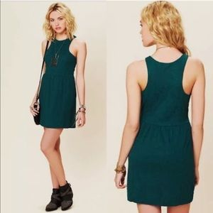 Free People Green Paisley Fit n Flare Skater Dress